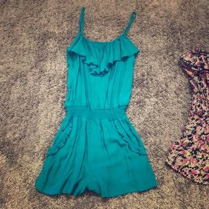 Teal ruffle romper/cover up